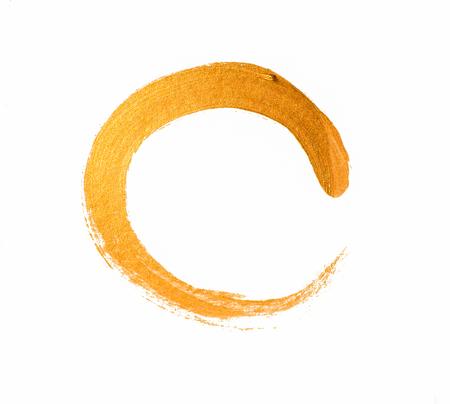 Golden yellow brushstroke isolated on white background Stock Photo