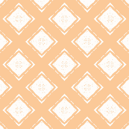 Orange pastel pattern with white rhombuses. Vector seamless pattern