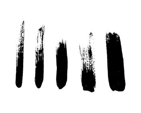 Set of black brushstrokes. Vector illustration. Design element