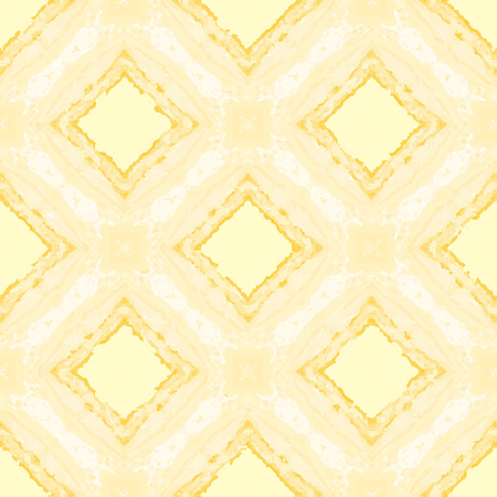 Yellow vintage pattern with rhombuses. Vector seamless pattern