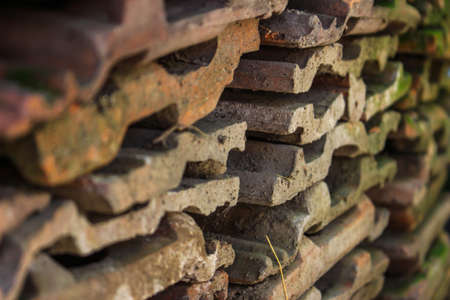 hollow wall: Some tille stacked and focused