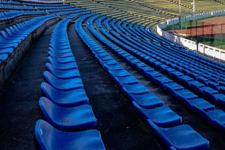 Stadium chairs rows in blue and white Stock Photo