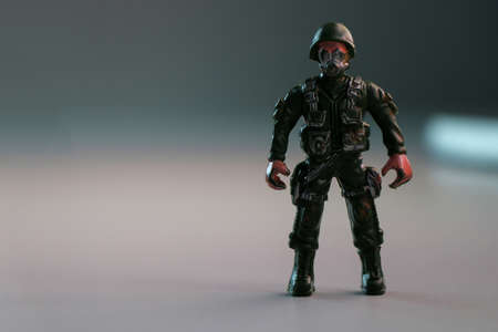 A soldier toy in focus scene