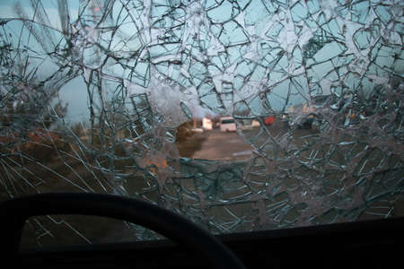 Windscreen broken and hole view