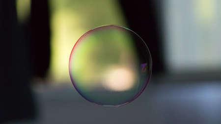 Soap ballon in the air colored