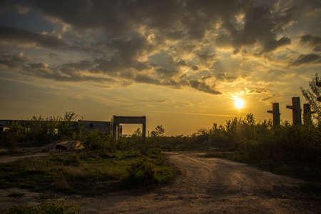 Sunrise in the ruins scene
