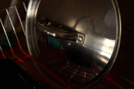 Stainless steel lid in dryer scene