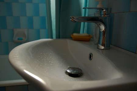 Washbasin in the bathroom dark
