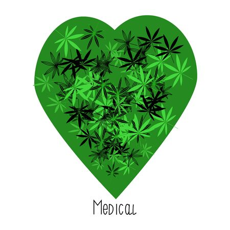 Green heart shaped illustration. Cannabis leaves on its background. Vector Marijuana.