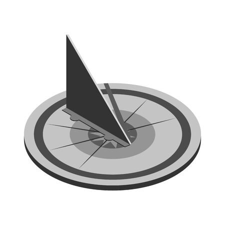 Sundial isometric style icon.Shadow from the sun. Vector illustration on isolated a white background.