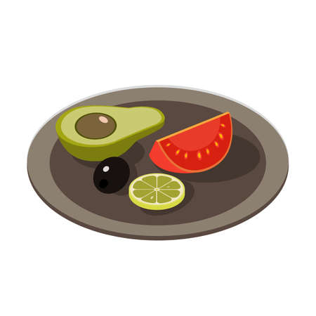 Isometric healthy food icon.Vector illustration isolated on white background.