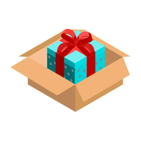 Isometric gift box icon.Vector illustration isolated on white background. 向量圖像