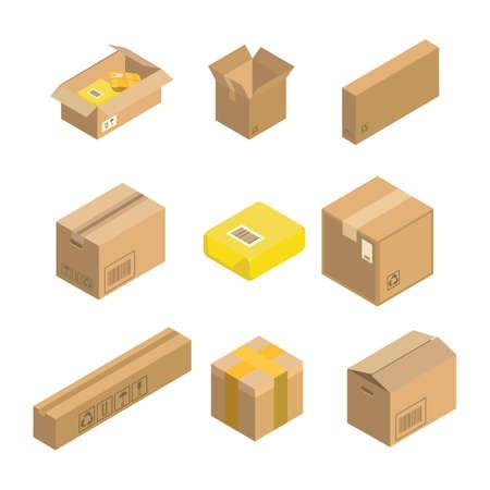 Isometric parcel icon. Set packing box vector illustration isolated on white background.