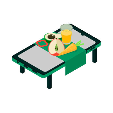 Isometric smartphone icon.Healthy food vector illustration isolated on white background