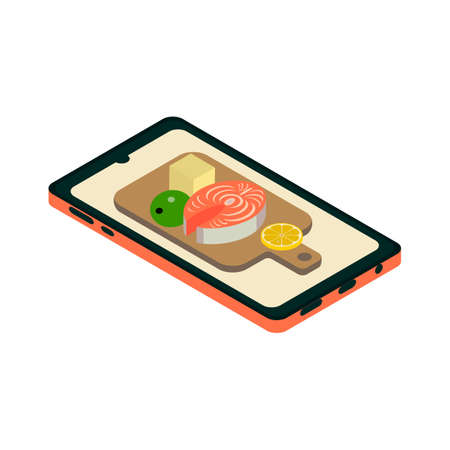 Isometric smartphone icon.Healthy food vector illustration isolated on white background.