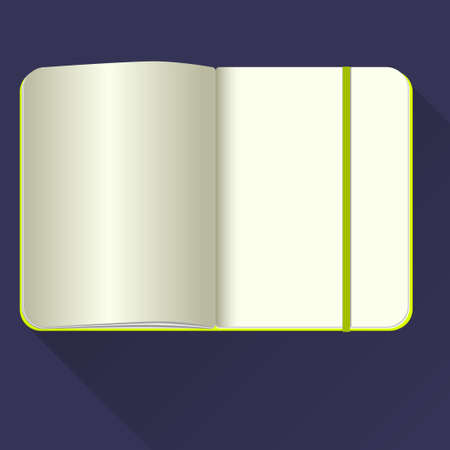 open notebook: Open notebook with bookmark, isolated on blue.