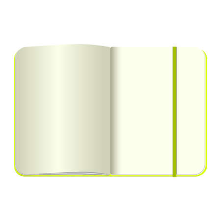 old diary: Open notebook with bookmark, isolated on white Illustration