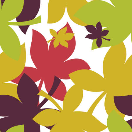 Vector illustration of a seamless pattern with autumn leaves.