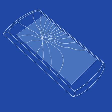 shattered glass: Mobile icons background vith smashed Scream shoving Shattered Glass and form it Scream, Simple vector illustration