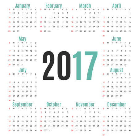 electronic organiser: Calendar for 2017 Year on white Background. Week Starts Monday. Simple Vector Template. Stationery Design Template Illustration