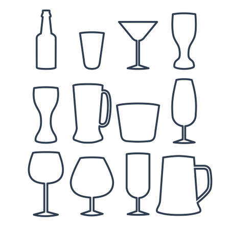 illustration of drinks and beverages icons set.