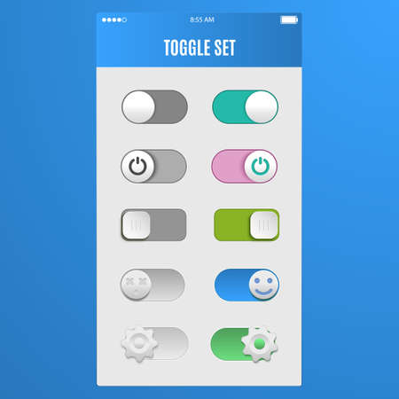 toggle switch: Toggle switch set, On and Off sliders, elements.