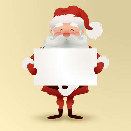 Happy Santa Claus character with a greeting card for design banners, postcards, flyers and more. Illustration Merry Christmas Santa Claus character on blue background. Empty space for your text. Illustration