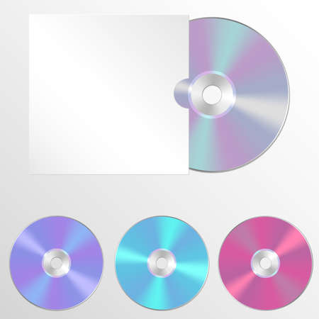 blueray: Set CD or DVD illustrations. Compact discs in a realistic style. Mock-up with the disc in the cover for your design project.