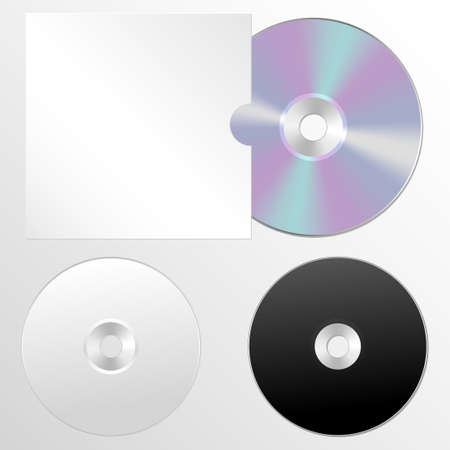 optical disk: Set CD or DVD illustrations. Compact discs in a realistic style. Mock-up with the disc in the cover for your design project.
