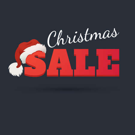 Design template. Christmas Sale Text for Promotion on dark background. The word sale in the cap of Santa Claus. Illustration