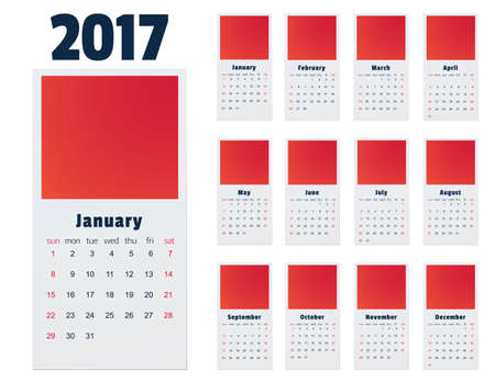 electronic organiser: Calendar for 2017 Year on white Background. Week Starts Monday. Stationery Design Template isolated on white background. Illustration