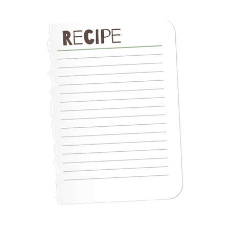 tore: Tore out the page with the word recipe for your design. A sheet of paper   ragged edge. Torn   empty space   text.