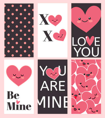 greating card: Happy Valentines Day greating card set. Inscription I love you, Be mine, Xo-Xo, You Are Mine. Vector illustration for Happy valentines day and weeding design project.
