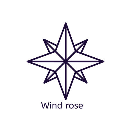 Vector icon of wind rose on a white background.