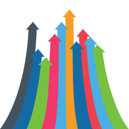 Arrows of growth, success, sales volume increase, demographic increase. 3D simple background for your presentation. Illustration