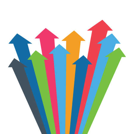 Editable  presentation of a design for  Arrows of growth, success, sales volume increase, demographic increase. 3D simple background for your presentation. Vettoriali