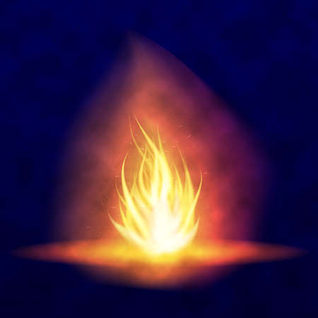 Vector burning bonfire. Hot flickering flame with sparks. Tongues of flame. Flicker of a torch. Bright burning effect of a candle. Illustration