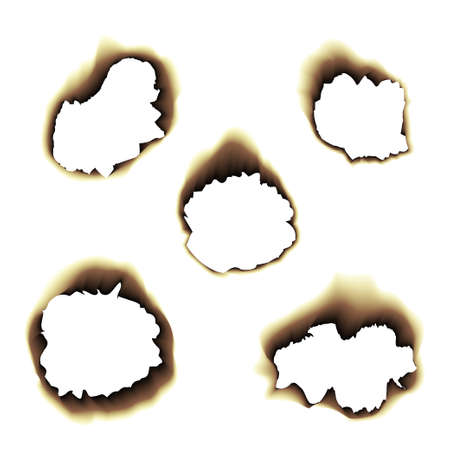 torn edge: Burnt scorched paper hole vector illustration on transparent background