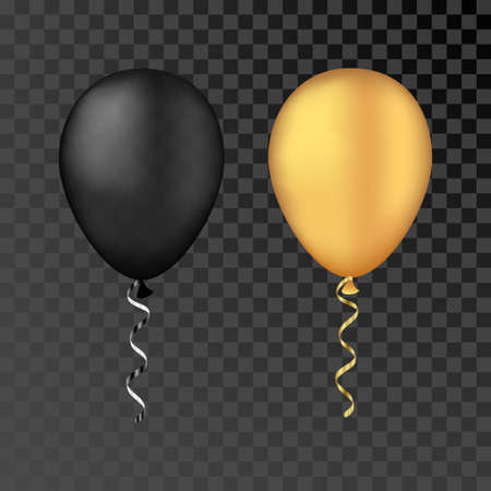 Vector gold and black balloons on a transparent background. 3d realistic happy holidays flying air helium balloon.