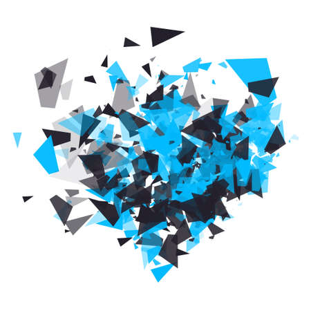 The explosion of cloud particles in the shape of a heart. Valentine s day, holiday, party, poster, invitation, birthday concept. Geometric modern abstract background for banner, postcards, presentations. Shatter vector design element. Illustration