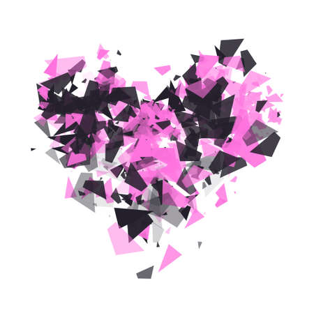The explosion of cloud particles in the shape of a heart on transparent background. Geometric modern abstract background for banner, postcards, presentations. Shatter vector design element.