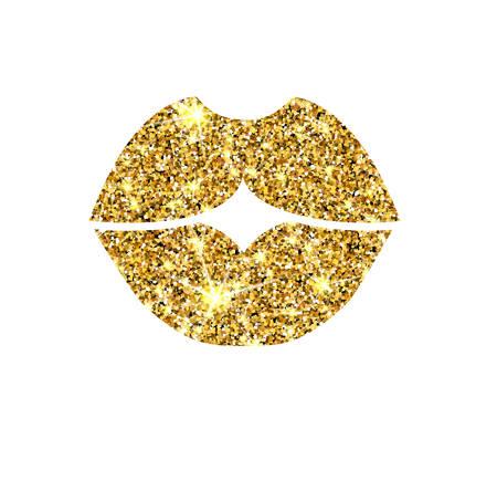 ゴールドラメ ベクトル唇。黄金ニクドコ キス。高級デザイン要素。琥珀の粒子。