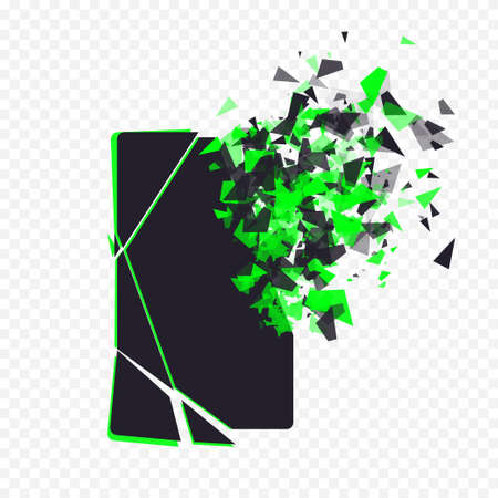 repaired: Cracked phone screen shatters into pieces. Broken smartphone split by the explosion on transparent background. Modern gadget needs to be repaired. Display of the phone shattered.