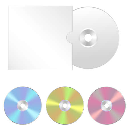 optical disk: Cd, dvd isolated vector icon. Compact disc realistic set Illustration