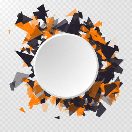 Abstract Circle Banner on transparent background. Abstract triangles particles with transparent shadows. Advertisement panel, infographic background, item showcase concept.