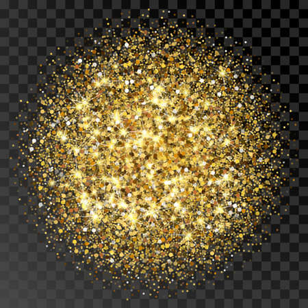 sequin: Golden glittering circle made of dots. Luxury golden round dots on transparent black backdrop. Amber particles gold confetti. Illustration