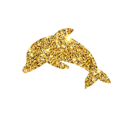 tinsel: Gold glitter vector dolphin. Golden sparcle fish. Luxury design element. Amber particles.