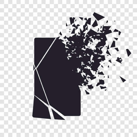 Cracked phone screen shatters into pieces. Broken smartphone split by the explosion on transparent background. Modern gadget needs to be repaired. Display of the phone shattered.