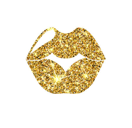sequin: Gold glitter vector lips. Golden sparcle kiss. Luxury design element. Amber particles.