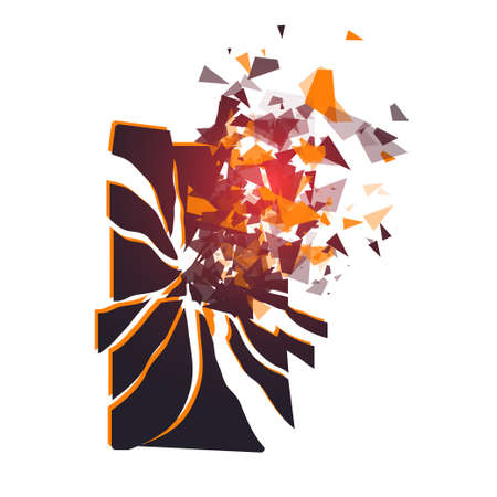 brocken: Cracked phone screen shatters into pieces. Broken smartphone split by the explosion. Modern gadget needs to be repaired. Display of the phone shattered.